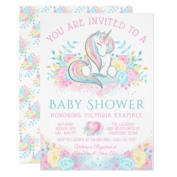 Sweet Watercolor Unicorn Baby Shower Invitation