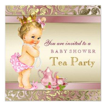 Tea Party Baby Shower Pink And Gold Invitation