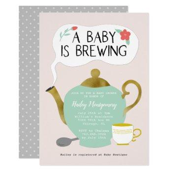 Tea Party Pink Baby Shower Baby Is Brewing Invitation