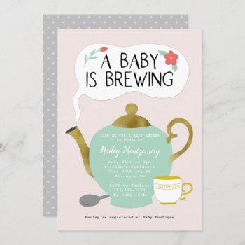 Tea Party Pink Baby Shower Baby Is Brewing