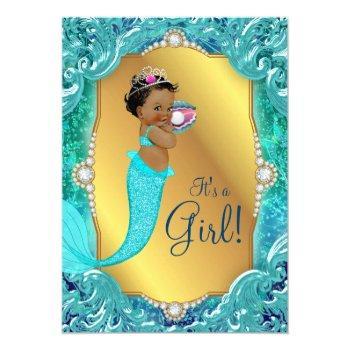 Teal African American Mermaid Sea Baby Shower Invitation
