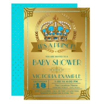 Teal And Gold Prince Baby Shower Invitations