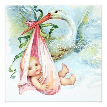 Teal Blue And Pink Vintage Stork Baby Shower Invitation