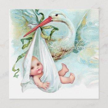 Teal Blue Vintage Stork Baby Shower