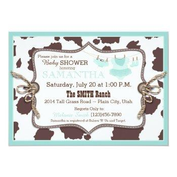 Teal Cowgirl Baby Shower Tutu Invitation
