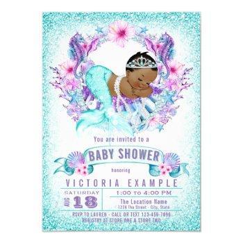 Teal Purple Ethnic Mermaid Baby Shower Invitation