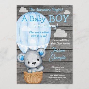 Teddy Bear Adventure Air Balloon Shower Invitation