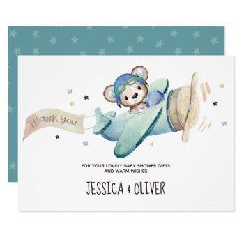 Teddy Bear Airplane Thank You Card