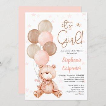 Teddy Bear Baby Shower Girl Invitation