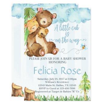 Teddy Bear Baby Shower Invitation Invite Blue Boy