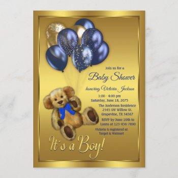 Teddy Bear Balloon Baby Shower Invitation