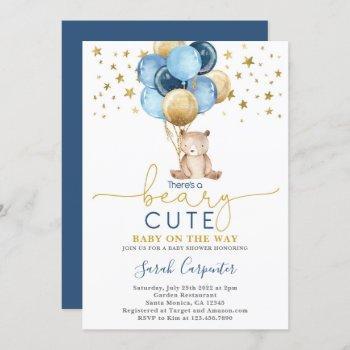 Teddy Bear Balloons Baby Shower Boy Invitation