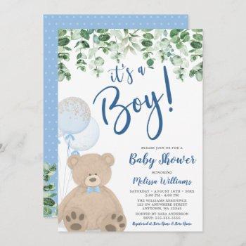 Teddy Bear Balloons Eucalyptus Boy Baby Shower Invitation