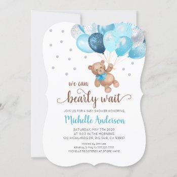 Teddy Bear Bearly Wait Baby Shower Invitation