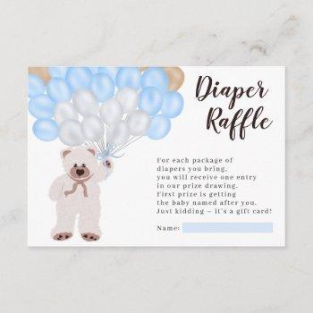 Teddy Bear Blue Balloon Diaper Raffle Shower Enclosure Card