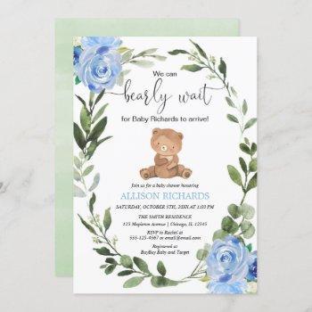Teddy Bear Blue Greenery Floral Boy Baby Shower Invitation