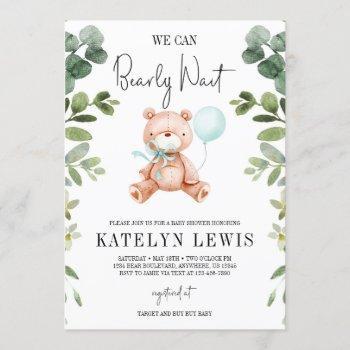 Teddy Bear Boy Greenery Baby Shower Invitation