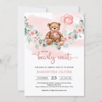 Teddy Bear Eucalyptus Wreath Girl Baby Shower Invi
