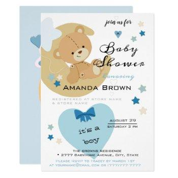 Teddy Bear Love Baby Boy Shower | Invitation