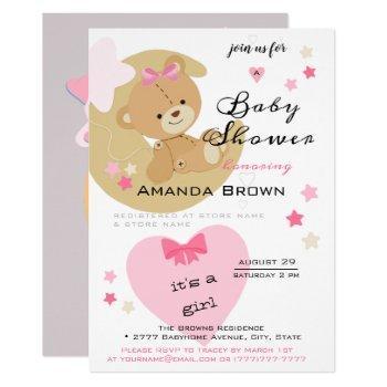 Teddy Bear Love Baby Girl Shower Invitation