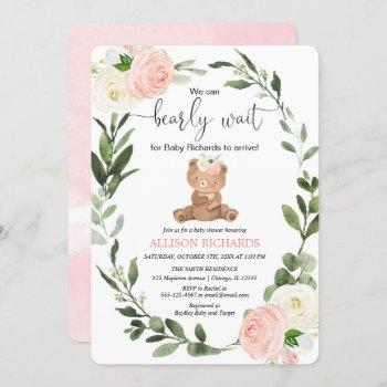 Teddy Bear Pink Greenery Floral Girl Baby Shower