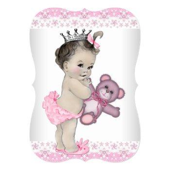 Teddy Bear Pink Princess Baby Shower Invitation