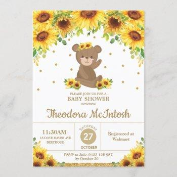 Teddy Bear Sunflower Floral Baby Shower Girl Invitation