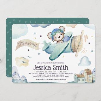 Teddy Bear Watercolor Airplane Baby Shower Invitation