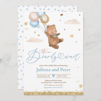 Teddy Bear We Can Bearly Wait Boy Baby Shower Invitation