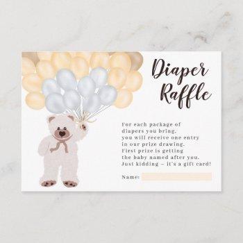 Teddy Bear Yellow Balloon Diaper Raffle Shower Enclosure Card