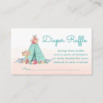 Teepee Diaper Raffle Tickets Enclosure Card