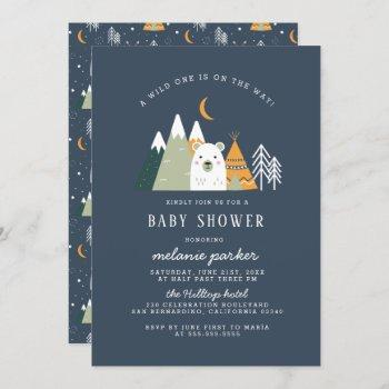 Teepee & Mountains Wild One Bear Baby Shower Invitation