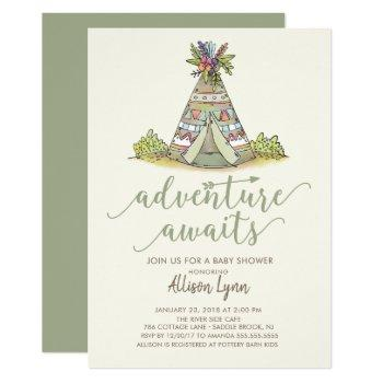 Teepee Tribal Baby Shower Invitation