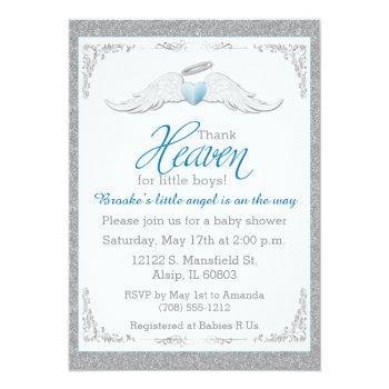 Thank Heaven For Little Boys Baby Shower Invitation