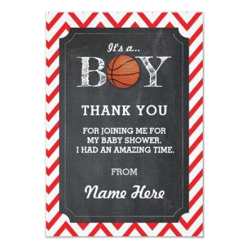 Thank You Boy Basketball Cards Chalk Red Chevron