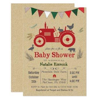 Tractor Farm Animal Baby Shower Invitation