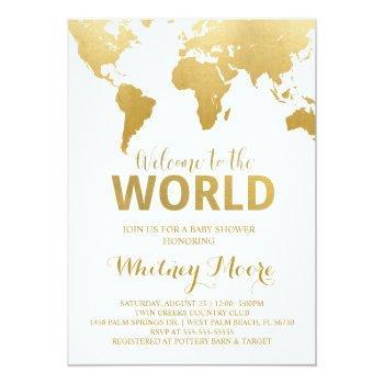 Travel Baby Shower Invitation | Gold Map