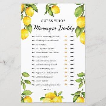Trendy Citrus Lemon Mommy Or Daddy Game