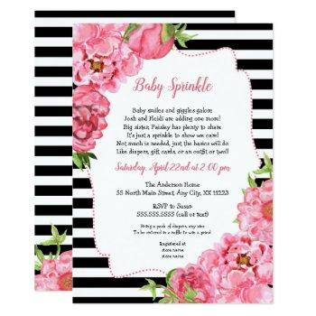Trendy Girl Pink Floral Baby Sprinkle Invitations
