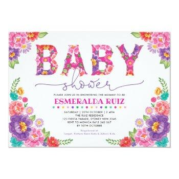 Trendy Mexican Floral Fiesta Girl Baby Shower Invitation