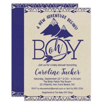 Tribal Adventure Baby Boy Shower Invitation