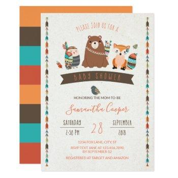 Tribal Animal Characters Baby Shower Invitation