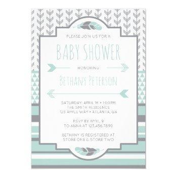 Tribal Baby Shower Invitation, Aztec, Arrows, Boho Invitation