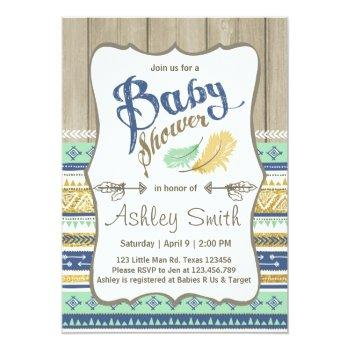 Tribal Baby Shower Rustic Baby Shower Blue Gold Invitation
