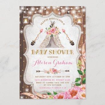 Tribal Boho Baby Shower  Floral Teepee