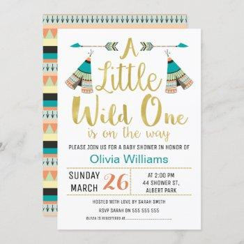 Tribal Little One Faux Gold Baby Shower Invitation
