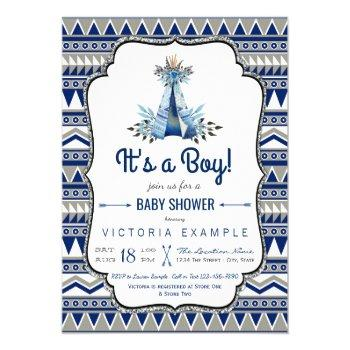 Tribal Teepee Blue Gray Boys Boho Baby Shower Invitation