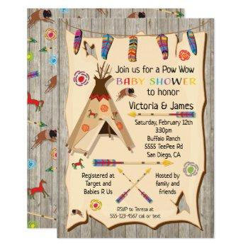 Tribal Teepee Pow Wow Baby Shower Invitation