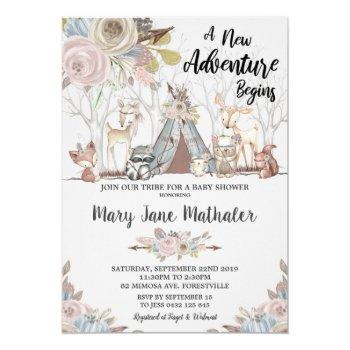 Tribal Woodland Animals Baby Shower Baby Girl Invitation