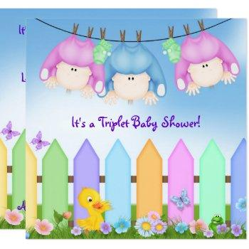 Triplets Baby Shower Invitation